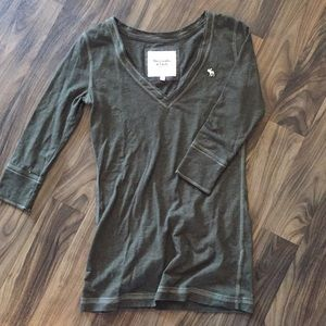 Abercrombie & Fitch Green V-Neck